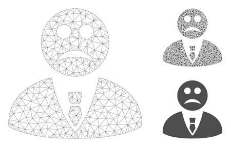 Mesh sad manager model with triangle mosaic icon. Wire carcass triangular mesh of sad manager. Vector collage of triangle elements in various sizes, and color tints. Abstract 2d mesh sad manager,