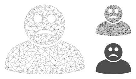 Mesh sad person model with triangle mosaic icon. Wire carcass polygonal network of sad person. Vector mosaic of triangle parts in different sizes, and color tints. Abstract 2d mesh sad person,
