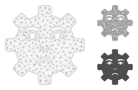 Mesh sad service gear smiley model with triangle mosaic icon. Wire frame polygonal mesh of sad service gear smiley. Vector mosaic of triangles in different sizes, and color hues.