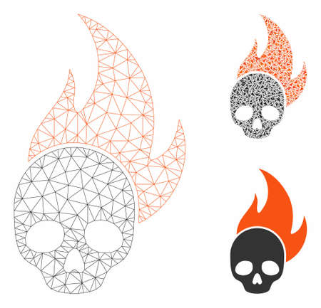 Mesh skull fire model with triangle mosaic icon. Wire carcass polygonal network of skull fire. Vector composition of triangle elements in different sizes, and color tinges.