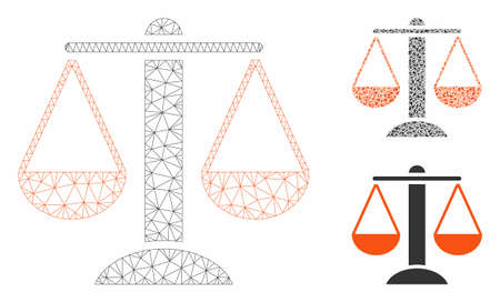 Mesh scales model with triangle mosaic icon. Wire frame polygonal network of scales. Vector mosaic of triangle elements in variable sizes, and color tones. Abstract flat mesh scales, Stock Illustratie