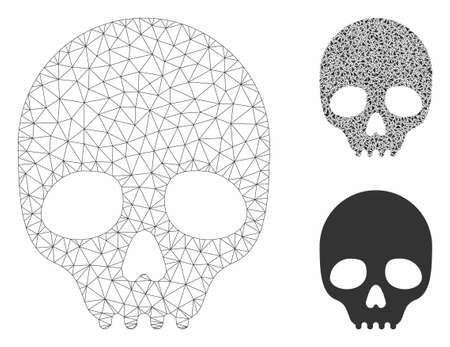 Mesh skull model with triangle mosaic icon. Wire carcass polygonal network of skull. Vector mosaic of triangle parts in variable sizes, and color tints. Abstract flat mesh skull,