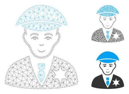 Mesh sheriff model with triangle mosaic icon. Wire frame triangular mesh of sheriff. Vector mosaic of triangle elements in various sizes, and color tinges. Abstract flat mesh sheriff,