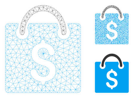 Mesh shopping bag model with triangle mosaic icon. Wire carcass polygonal mesh of shopping bag. Vector mosaic of triangle parts in various sizes, and color hues. Abstract flat mesh shopping bag,