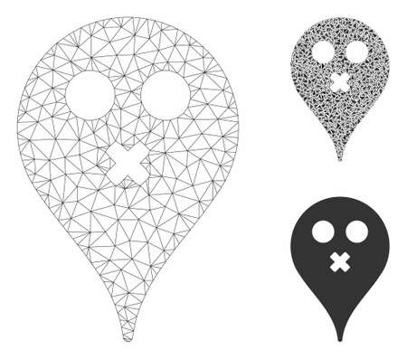 Mesh silence smiley map marker model with triangle mosaic icon. Wire frame triangular mesh of silence smiley map marker. Vector composition of triangle parts in variable sizes, and color tones.