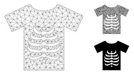 Mesh skeleton T-shirt model with triangle mosaic icon. Wire carcass triangular mesh of skeleton T-shirt. Vector mosaic of triangle elements in different sizes, and color hues.
