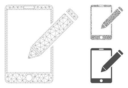 Mesh smartphone edit pencil model with triangle mosaic icon. Wire carcass polygonal mesh of smartphone edit pencil. Vector mosaic of triangle elements in different sizes, and color tones.