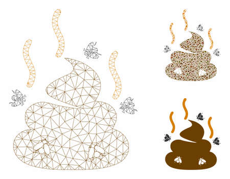 Mesh smell bullshit model with triangle mosaic icon. Wire carcass triangular mesh of smell bullshit. Vector mosaic of triangle parts in different sizes, and color tinges. Ilustração