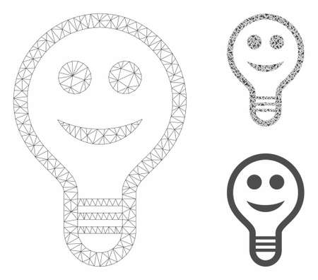 Mesh smile bulb model with triangle mosaic icon. Wire frame polygonal mesh of smile bulb. Vector mosaic of triangles in variable sizes, and color shades. Abstract flat mesh smile bulb, Иллюстрация