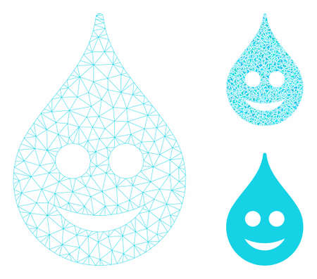 Mesh smile drop model with triangle mosaic icon. Wire carcass polygonal network of smile drop. Vector mosaic of triangle parts in variable sizes, and color shades. Abstract 2d mesh smile drop, 向量圖像