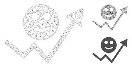 Mesh smile growing trend model with triangle mosaic icon. Wire carcass polygonal mesh of smile growing trend. Vector composition of triangle elements in various sizes, and color shades.