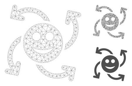 Mesh smile swirl arrows model with triangle mosaic icon. Wire carcass triangular mesh of smile swirl arrows. Vector mosaic of triangle parts in variable sizes, and color tints. Reklamní fotografie - 129032731