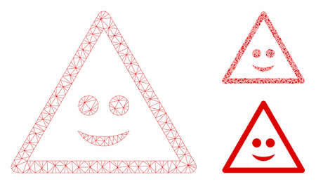 Mesh smile warning model with triangle mosaic icon. Wire frame polygonal mesh of smile warning. Vector mosaic of triangle elements in various sizes, and color tints. Abstract flat mesh smile warning, Иллюстрация