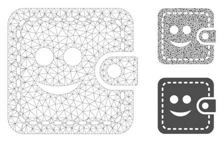 Mesh smiled wallet model with triangle mosaic icon. Wire frame polygonal mesh of smiled wallet. Vector mosaic of triangle parts in various sizes, and color tints. Abstract 2d mesh smiled wallet,