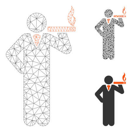 Mesh smoking model with triangle mosaic icon. Wire frame triangular mesh of smoking. Vector mosaic of triangle elements in variable sizes, and color shades. Abstract 2d mesh smoking,