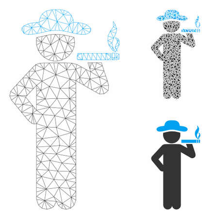 Mesh smoking gentleman model with triangle mosaic icon. Wire frame polygonal mesh of smoking gentleman. Vector mosaic of triangle parts in variable sizes, and color hues.