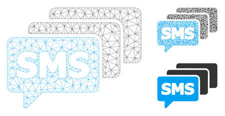 Mesh SMS queue model with triangle mosaic icon. Wire carcass polygonal mesh of SMS queue. Vector mosaic of triangle parts in different sizes, and color hues. Abstract flat mesh SMS queue,