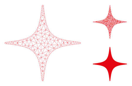 Mesh space star model with triangle mosaic icon. Wire frame triangular mesh of space star. Vector mosaic of triangle elements in different sizes, and color tones. Abstract 2d mesh space star,