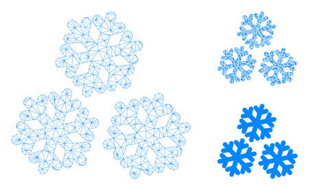 Mesh snow model with triangle mosaic icon. Wire frame polygonal mesh of snow. Vector mosaic of triangle elements in variable sizes, and color tones. Abstract 2d mesh snow, built from polygonal grid.