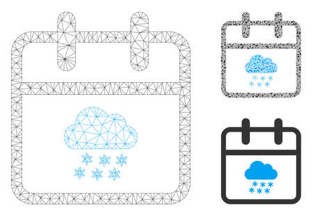 Mesh snow day model with triangle mosaic icon. Wire carcass polygonal mesh of snow day. Vector mosaic of triangle elements in various sizes, and color hues. Abstract 2d mesh snow day,