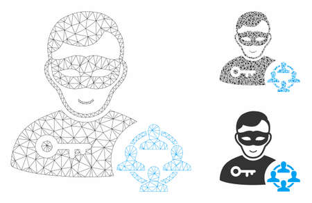 Mesh social hacker model with triangle mosaic icon. Wire frame polygonal mesh of social hacker. Vector mosaic of triangle elements in different sizes, and color tints. Abstract 2d mesh social hacker, Illustration