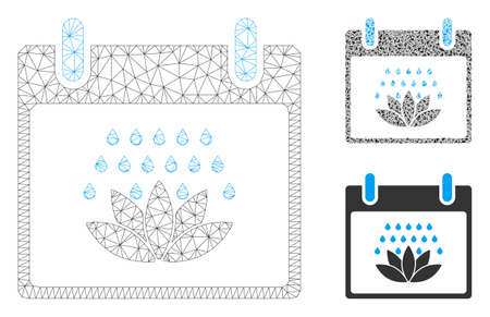 Mesh spa shower calendar day model with triangle mosaic icon. Wire frame polygonal mesh of spa shower calendar day. Vector mosaic of triangle elements in different sizes, and color tinges.