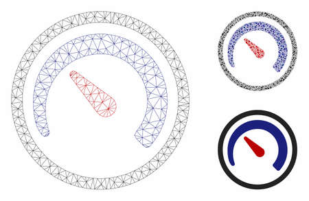 Mesh speedometer model with triangle mosaic icon. Wire carcass triangular mesh of speedometer. Vector collage of triangle elements in variable sizes, and color shades. Abstract 2d mesh speedometer,