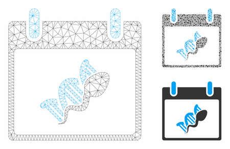 Mesh sperm DNA replication calendar day model with triangle mosaic icon. Wire frame triangular mesh of sperm DNA replication calendar day. Vector mosaic of triangle elements in different sizes,