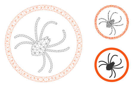 Mesh spider model with triangle mosaic icon. Wire frame triangular mesh of spider. Vector mosaic of triangle elements in various sizes, and color tinges. Abstract flat mesh spider, Ilustração