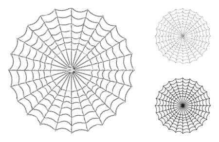 Mesh spider web model with triangle mosaic icon. Wire carcass triangular network of spider web. Vector mosaic of triangle elements in different sizes, and color tinges. Abstract flat mesh spider web,