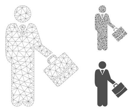 Mesh standing businessman model with triangle mosaic icon. Wire carcass triangular mesh of standing businessman. Vector collage of triangle parts in different sizes, and color tints. Banco de Imagens - 129034505
