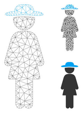Mesh standing lady model with triangle mosaic icon. Wire frame polygonal mesh of standing lady. Vector mosaic of triangle elements in variable sizes, and color tones. Abstract flat mesh standing lady, Illustration