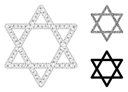 Mesh star of David model with triangle mosaic icon. Wire frame polygonal mesh of star of David. Vector composition of triangle elements in different sizes, and color tints.
