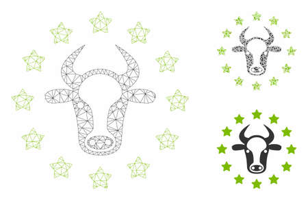 Mesh starred bull model with triangle mosaic icon. Wire frame triangular mesh of starred bull. Vector mosaic of triangle elements in different sizes, and color tinges. Abstract 2d mesh starred bull,