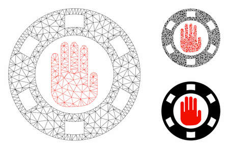 Mesh stop gambling chip model with triangle mosaic icon. Wire carcass polygonal mesh of stop gambling chip. Vector mosaic of triangle parts in various sizes, and color tinges.