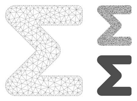 Mesh sum model with triangle mosaic icon. Wire carcass triangular mesh of sum. Vector mosaic of triangles in various sizes, and color hues. Abstract 2d mesh sum, designed with triangles.