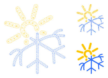 Mesh sun melting snowflake model with triangle mosaic icon. Wire carcass polygonal mesh of sun melting snowflake. Vector collage of triangle parts in different sizes, and color tints.