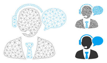 Mesh support manager message model with triangle mosaic icon. Wire carcass polygonal mesh of support manager message. Vector collage of triangle parts in various sizes, and color tints.