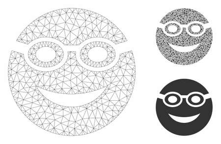 Mesh swimmer smiley model with triangle mosaic icon. Wire frame triangular mesh of swimmer smiley. Vector collage of triangle parts in variable sizes, and color tinges.