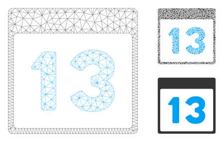 Mesh thirteenth calendar page model with triangle mosaic icon. Wire carcass triangular network of thirteenth calendar page. Vector mosaic of triangle elements in different sizes, and color tints.