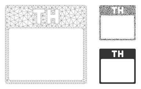 Mesh Thursday calendar page model with triangle mosaic icon. Wire frame triangular network of Thursday calendar page. Vector mosaic of triangle parts in different sizes, and color tones.