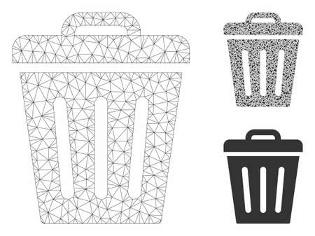 Mesh trash can model with triangle mosaic icon. Wire frame triangular mesh of trash can. Vector mosaic of triangle elements in various sizes, and color tints. Abstract flat mesh trash can,