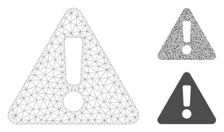 Mesh warning model with triangle mosaic icon. Wire carcass polygonal mesh of warning. Vector mosaic of triangles in variable sizes, and color shades. Abstract flat mesh warning,