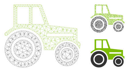 Mesh wheeled tractor model with triangle mosaic icon. Wire frame triangular mesh of wheeled tractor. Vector mosaic of triangle elements in different sizes, and color shades.