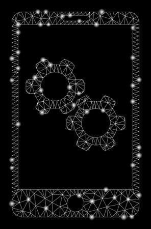 Glowing mesh smartphone gear options with glow effect. Abstract illuminated model of smartphone gear options icon. Shiny wire frame triangular mesh smartphone gear options.