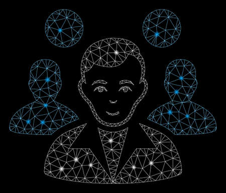 Bright mesh staff leader with glare effect. Abstract illuminated model of staff leader icon. Shiny wire frame triangular network staff leader. Vector abstraction on a black background. Banque d'images - 129087274