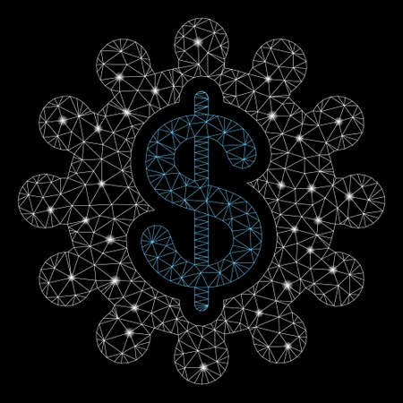 Bright mesh payment options with glitter effect. Abstract illuminated model of payment options icon. Shiny wire carcass polygonal network payment options. Vector abstraction on a black background. Stock Illustratie