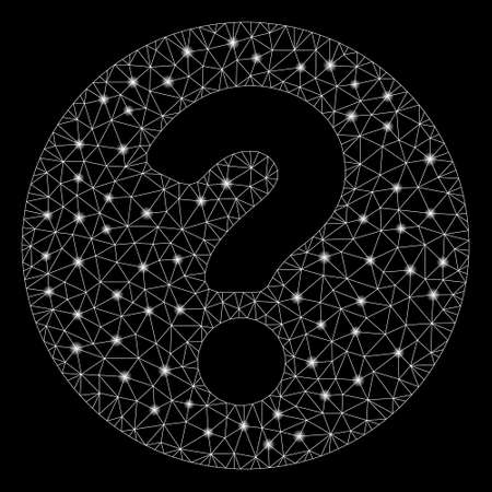 Glossy mesh question with glitter effect. Abstract illuminated model of question icon. Shiny wire frame triangular mesh question. Vector abstraction on a black background. Stock Illustratie