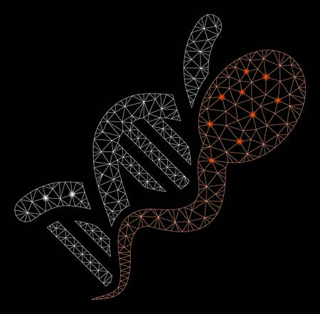 Glowing mesh sperm genome with glow effect. Abstract illuminated model of sperm genome icon. Shiny wire frame triangular mesh sperm genome. Vector abstraction on a black background.