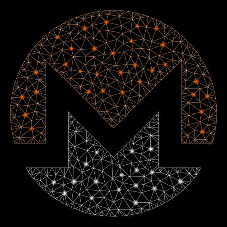 Flare mesh Monero currency with sparkle effect. Abstract illuminated model of Monero currency icon. Shiny wire frame polygonal mesh Monero currency. Vector abstraction on a black background.